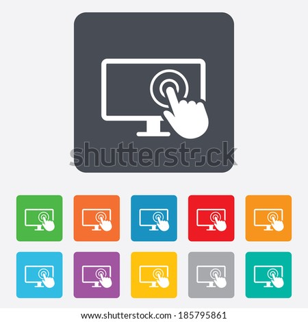 Touch screen monitor sign icon. Hand pointer symbol. Rounded squares 11 buttons. Vector - stock vector