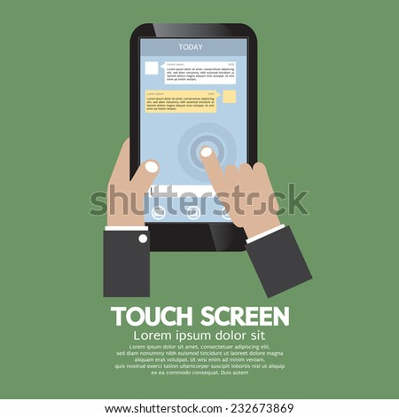 Touch Screen On Smartphone Vector Illustration - stock vector