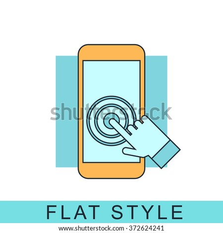 Touch screen smartphone Icon Vector. Icon JPEG.  smartphone Object. smartphone Picture. smartphone Image. smartphone Graphic. Touch screen Art. Icon JPG. Icon EPS. Icon AI. smartphone Drawing - stock vector