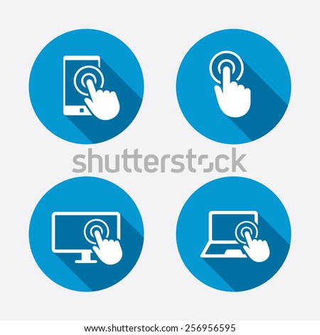 Touch screen smartphone icons. Hand pointer symbols. Notebook or Laptop pc sign. Circle concept web buttons. Vector - stock vector