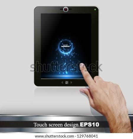 touch screen tablet. vector design - stock vector