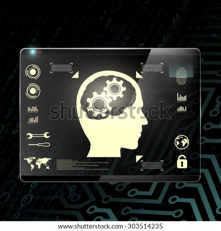 Touch screen with a human head and gears. Transparent display on a digital background. Stock Vector. - stock vector