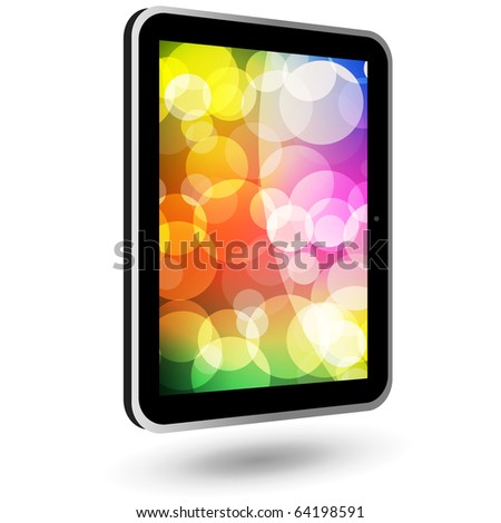Touch tablet PC 6 (black, vertical, with wallpaper). Vector Illustration. - stock vector