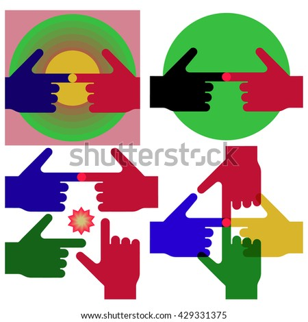 Touching fingertips sign. The symbolic image of the touch of hands in different colors. - stock vector