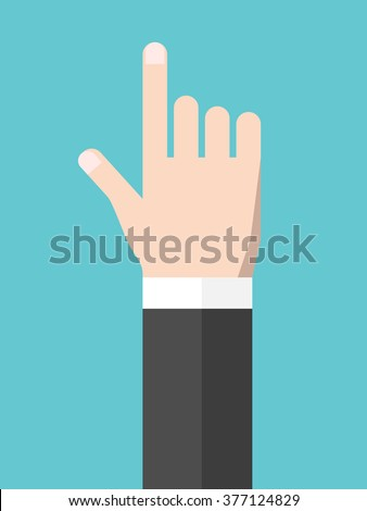Touching or pointing hand. Touchscreen, user interface, attention, direction, manipulation, management concept. Flat style. EPS 8 vector illustration, no transparency - stock vector