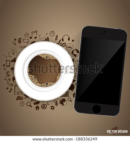 Touchscreen device and a cup of coffee with application icon. Vector illustration. - stock vector