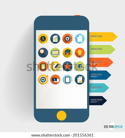 Touchscreen device with application icon and note papers. Vector illustration. - stock vector
