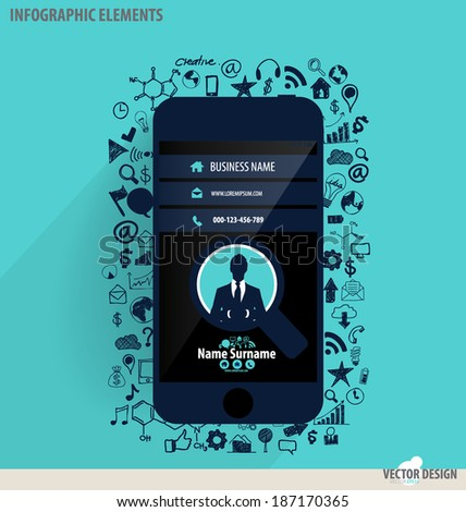 Touchscreen device with application icon. Vector illustration. - stock vector