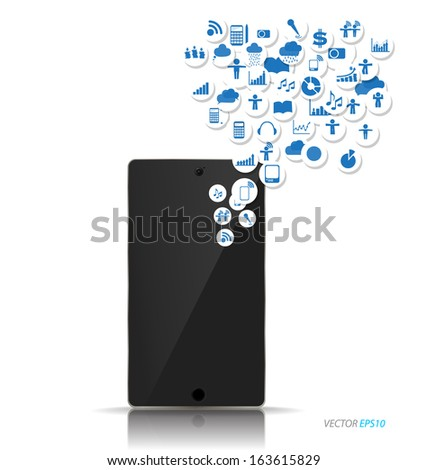 Touchscreen device with cloud of application icons. Vector illustration. - stock vector