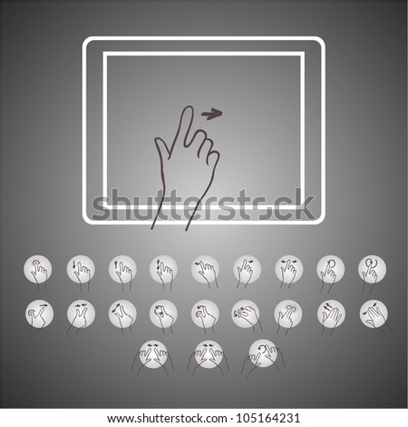 touchscreen hand  icon  tablet - stock vector