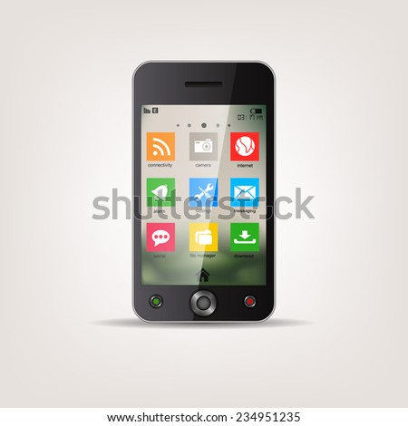 Touchscreen Mobile phone with metro style Icon menu - stock vector