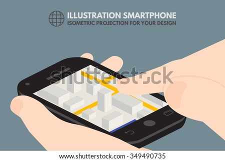 Touchscreen phone, computer, gadget.It can be used to illustrate the infographics - stock vector
