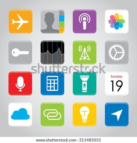Touchscreen smart phone mobile application button icon Vector illustration - stock vector