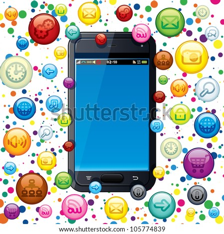 Touchscreen Smart Phone with Cloud of Application Icons - stock vector