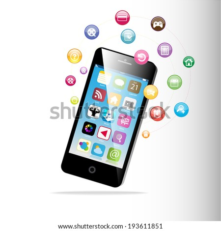 Touchscreen Smart Phone with Cloud of Media Application Icons.  - stock vector