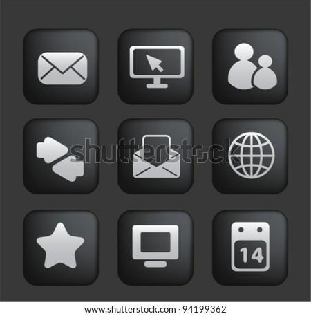 Touchscreen smartphone application black buttons icons, vector - stock vector