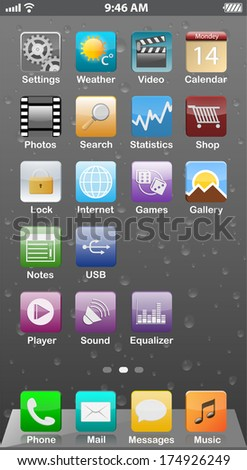 Touchscreen smartphone interface with background - vector - stock vector