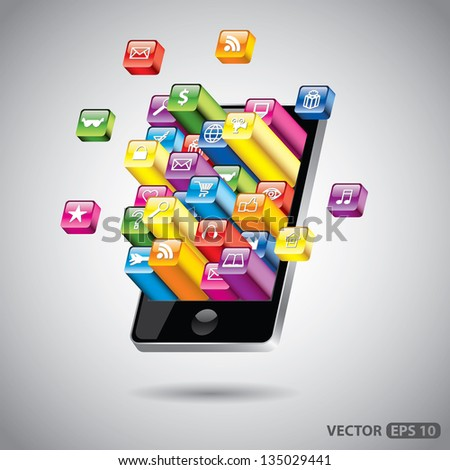 touchscreen smartphone with colorful apps detailed vector illustration - stock vector