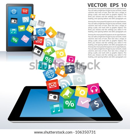 Touchscreen tablet pc with cloud of colorful application. Vector illustration. - stock vector
