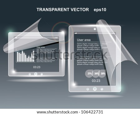 touchscreen tablet with a transparent buttons. - stock vector