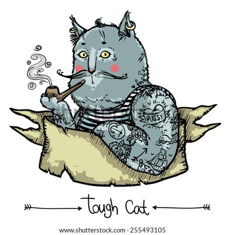 Tough Cat - Vector hand drawn illustration - stock vector