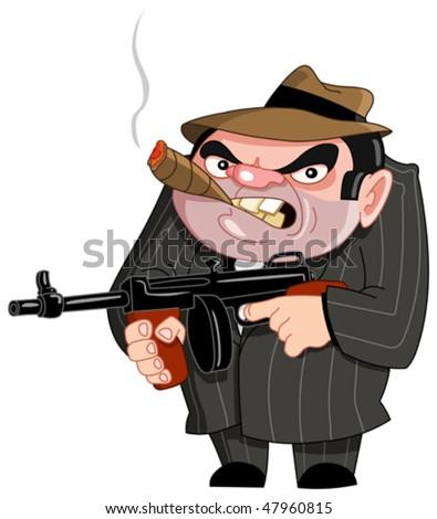 Tough gangster ready to shoot - stock vector