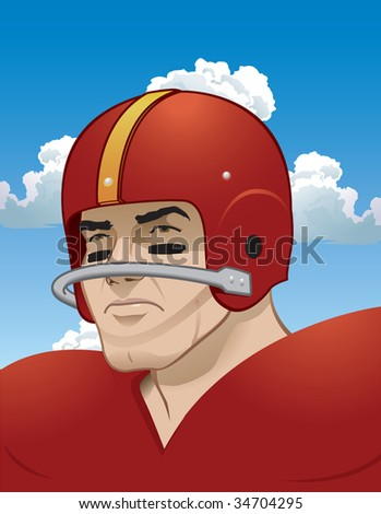 Tough, old-school football player.  Easily substitute your teams colors and helmet logo to give them that rugged, retro feel. - stock vector