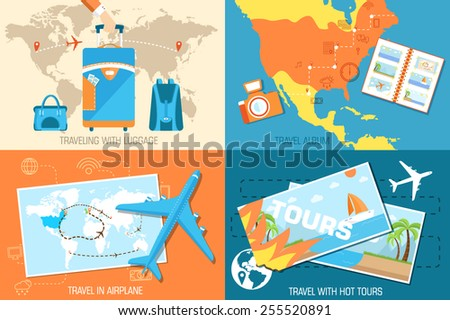 tour of the world banners concept. Tourism with fast travel on a flat design style. Vector illustration in retro style - stock vector