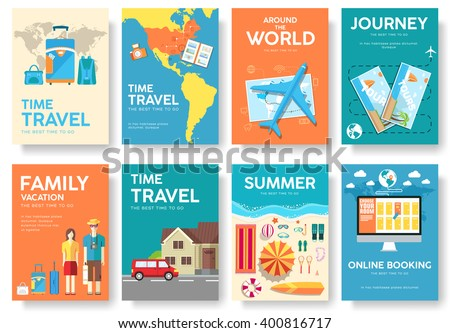 book signing poster template - tour world vector brochure set travel stock vector