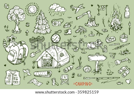 Tourism and camping set. Hand drawn doodle Camping Elements - vector illustration - stock vector