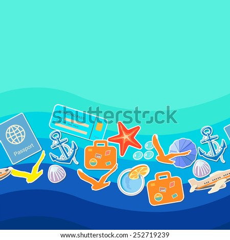 Tourism concept seamless pattern, summer holiday background  and place for text - stock vector