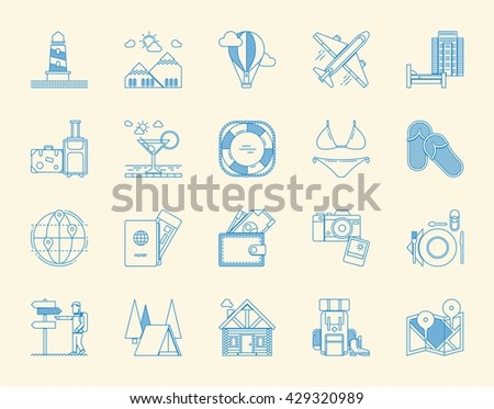 tourism icon set, vector icons - stock vector