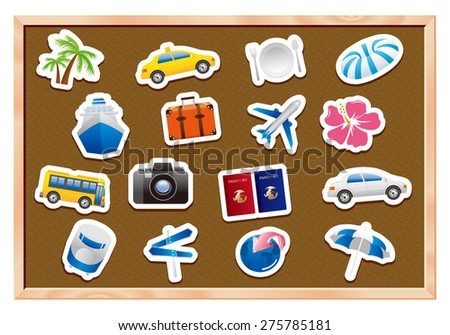 tourism icons on wooden board Vector  - stock vector
