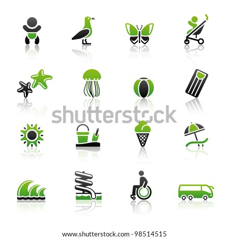 Tourism, Recreation & Vacation, icons set. Sport, Travel with reflection - stock vector