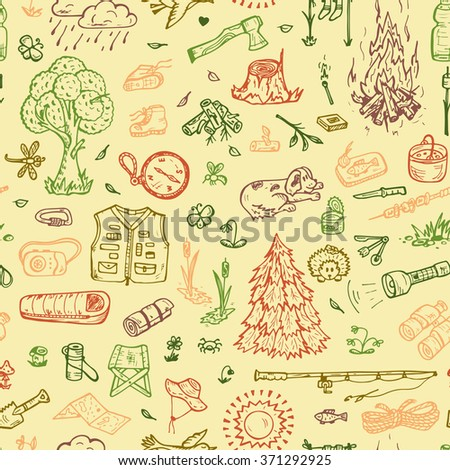 Tourism Seamless pattern. Hand drawn doodle Camping Elements - vector illustration - stock vector