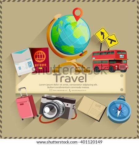 Tourism. Travel banner. Trip to World. Holiday vacation and ready for adventure concept.