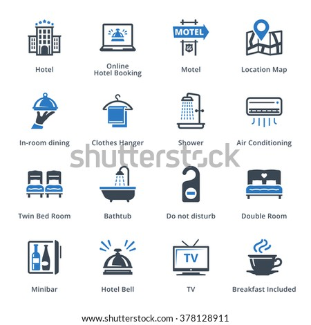 Tourism & Travel Icons Set 1 - Blue Series  - stock vector