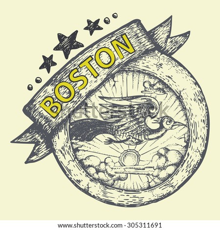 tourist and travel stamp symbol hand draw for Boston city USA - stock vector