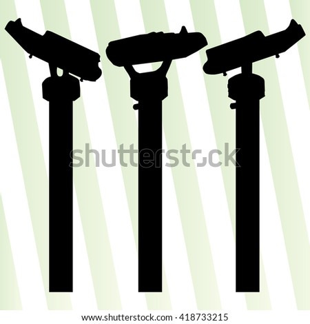 Tourist attraction coin operated binoculars tower viewer vector background set
