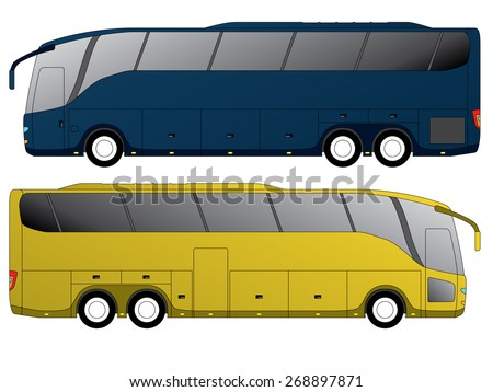 Tourist bus design with double axle in the back side view - stock vector