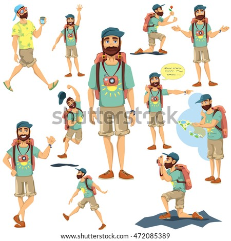 Tourist character vector illustration set, traveling man with backpack in cartoon style in different poses, situations, proposing, taking photos, looking at map, walking.