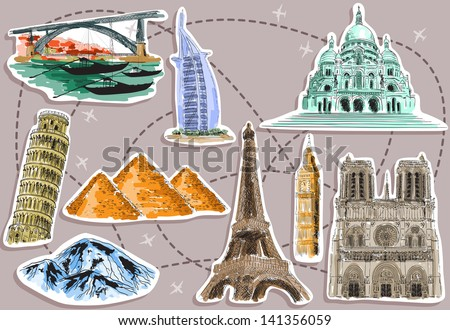 tourist destination pictures - stock vector