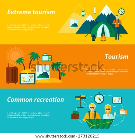Tourist horizontal banner set with extreme and common recreation elements isolated vector illustration - stock vector