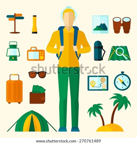 Tourist icons flat set with tent sunglasses compass palm isolated vector illustration - stock vector