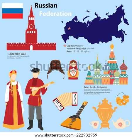 Tourist information about Russia. Icons, national costumes. Infographics. - stock vector