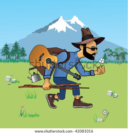 tourist on nature - stock vector