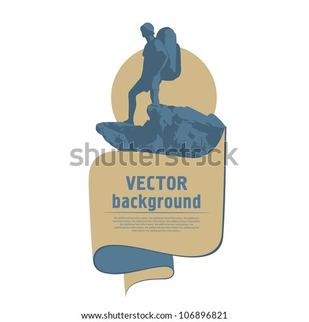 Tourist on top of a mountain - stock vector