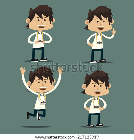 Tourist photographer man set - stock vector