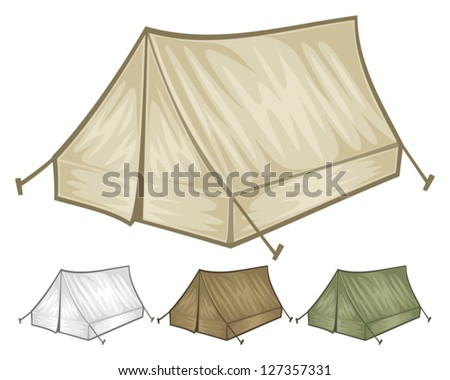 tourist tent for travel and camping  (vector illustration of a tent) - stock vector
