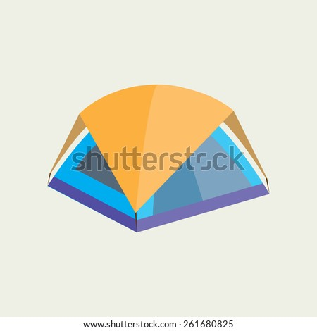 Tourist tent icon. Flat design - stock vector